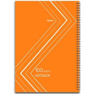 دفتر 100 برگ سیمی طلقی نارنجی